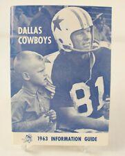 1963 Dallas Cowboys Information Press Media Guide NFL Football Vintage