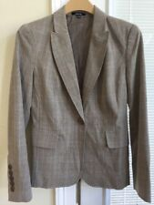 NWT Rafaella Women's Taupe Plaid 1Button 2 Way Stretch Novelty Blazer Size 6