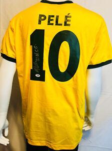 "Pele Signed Brazil Soccer Jersey w/ ""3X W.C.C."" (Champs) - Very Rare - PSA/DNA"