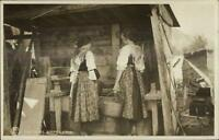 Costumes of Ampezzona Italy Woman Water Well? c1910 Real Photo Postcard