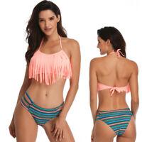 a7a26f060ab381 Tassel Swimwear Bikini Set Women Swimsuit Bandeau Fringe Bathing Suit Girls  Swim