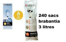 """240 SACS POUBELLES BRABANTIA """" A """" pour poubelle 3 litres"""