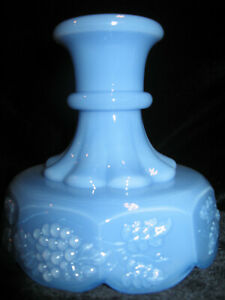 blue Milk glass grape cable leaf pattern Candle holder dish candlestick delphite