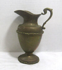 Vintage Brass Silver Plate Pitcher Collectible Metalware Antique Decor Vase