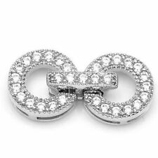9.2x18.5mm Jewelry Making DIY Micro Pave Rhinestone Sterling Silver Clasp