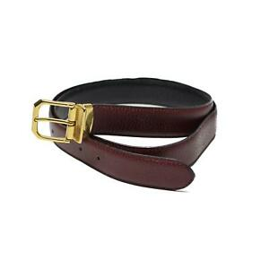 Genuine Military Burgundy Leather Belt with Gold Buckle Maroon Army NEW