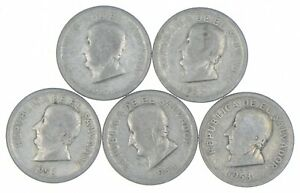 Lot of 5 El Salvador 1953 25 Centavos Silver Coin Lot - Rare one Year Issue *307