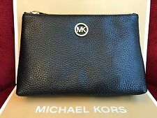 NWT MICHAEL MICHAEL KORS FULTON PEBBLED LEATHER TRAVEL CASE IN BLACK