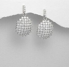 Ladies Sterling Silver Jewellery Simulated Diamond Cluster Pave Dangle Earrings
