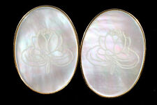 Estate 14k Gold Pearl  and Mother of Pearl  Earrings