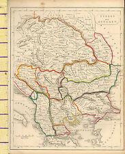 c1815 MAP ~ TURKEY & HUNGARY BOSNIA BULGARIA TRANSYLVANIA AUSTRIA HAND COULORED