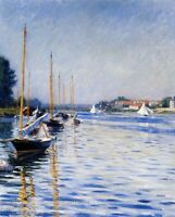 Gustave Caillebotte Boats on the Seine Fine Art CANVAS Print Painting Small 8x10