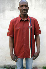 Puma Racing Team Casual Shirt Vintage  Burgundy Cotton Short Sleeved L GOOD