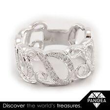 Vintage Estate 14k Solid White Gold Diamond Letter D Initial Ring 0.10ctw