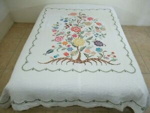 QUEEN Vintage FINISHED Hand Sewn Cross Stitch FLORAL TREE OF LIFE (?) Quilt