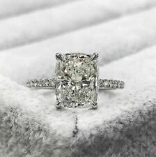 Solitaire 3.Ct Radiant Cut Near White Color Moissanite Ring 925 Sterling Silver