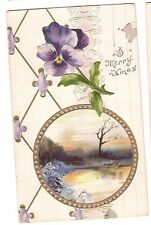 A MERRY XMAS  Embossed CHRISTMAS Postcard Violets, Goldtone, Thin Paper Stock