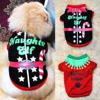 Christmas Puppy Dog Short Sleeve Shirt Vest Sweater Chihuahua Small Dog Clothes#
