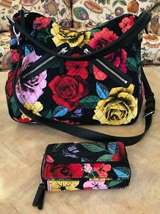 2 FOR 1 VERA BRADLEY HAVANA ROSE VIVIAN STYLE SHOULDER BAG & MATCHING WALLET