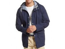 NWT TOMMY HILFIGER MEN'S HOODIE ADJUSTABLE LENGTH TRENCH COAT JACKET NAVY M