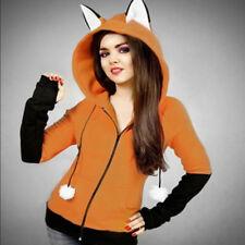 Women Hooded Coat Jacket Fox Cosplay Hooded Warm Sportwears Zipper Outwear New