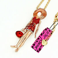 Betsey Johnson Fashion Red Crystal Enamel Girl Pendant Sweater Chain Necklace