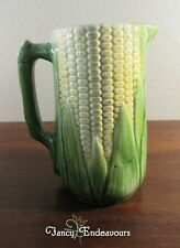 Brush McCoy Cusick Majolica Figural Corn Pitcher Jug