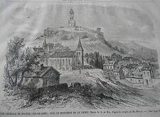 Gravure 1868 - Vue générale de Monton ( puy de dome )