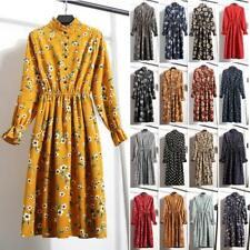 Vintage Women Corduroy Floral Casual Party Long Sleeve Button Down Maxi Dress