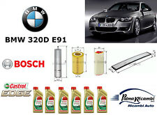 KIT TAGLIANDO OLIO 4 FILTRI BOSCH + 6LT. CASTROL EDGE 5W30 BMW 320 D E91