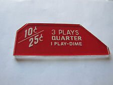 Seeburg 3W1 Wallbox Jukebox Coin Glass 3 Plays Quarter 1 Play Dime