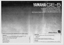 Yamaha GE-5 Stereo Graphic Equalizer Operating Instruction EQ - USER MANUAL