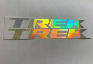2x TREK decals stickers iridescent chrome rainbow frame vinyl graphics bike logo