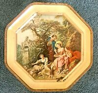 VTG SUNSHINE BISCUITS OCTAGON TIN BOUCHER PAINTINGS ~ 2 SIDED REMOVEABLE COVERS