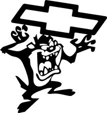 "TAZMANIAN DEVIL DECAL 10"" Windshield door hood BOW TIE CHEVY window TASMANIAN"
