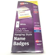 """New listing Avery Poly Hanging White Name Badge 2-1/4 """" X 3-1/2"""" Top-Loading 12 Pack - New"""