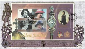BARBADOS 6 FEB 2002 GOLDEN JUBILEE M/SHEET UNADDRESSED BENHAM FIRST DAY COVER