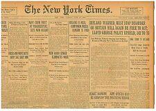 IRISH CIVIL WAR CHURCHILL WARNS IRELAND FINAL TERMS JUNE 27 1922 B8