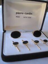 MINT! Pierre Cardin Cufflinks & Studs, Oval, Gold-Tone w/ Onyx, New Old Stock