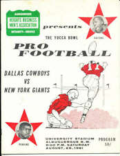 August 26, 1961 Dallas Cowboys vs Giants football Program played in Albuquerque!