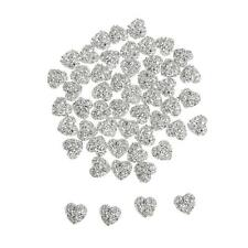 50x Silver Resin Heart Cabochon Rhinestone Flatback Embellishment DIY Craft