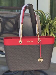 MICHAEL KORS WOMEN LARGE CHAIN SHOULDER TOTE BAG BROWN MK SIGNATURE LEATHER RED