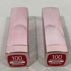Maybelline Color Sensational Shine Lipstick #100 Magenta Affair Lot of 2 New