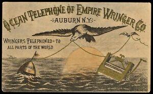1880s EMPIRE WRINGER Co  Trade Card  Auburn NY Ocean Telephone