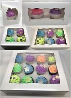 PREMIUM Windowed Cupcake Boxes for 1, 2, 4, 6 & 12 Cup Cakes & Removable Inserts