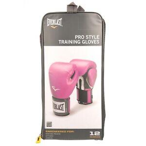 Everlast Boxing Pro Style Elite Training Gloves, 12oz, Pink, Breathable Fabric
