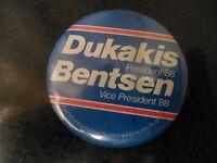 Presidential Pin Back Campaign Button Dukakis Bentsen ATU Union Labor Candidate