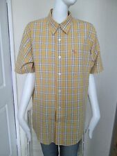 ABERCROMBIE & FITCH - YELLOW CHECK S/SLEEVED MUSCLE SHIRT SIZE M - 100%COTTON