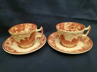 WOOD & SONS ENGLAND ENGLISH SCENERY RED SET OF 2 DEMITASSE TEA CUP & SAUCER SETS