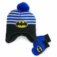 New Batman Toddler Winter Hat & Mittens Set One Size